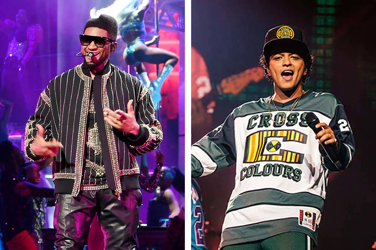 Neither Bruno Mars nor Usher will be performing in face covers on the Las Vegas Strip this week ...