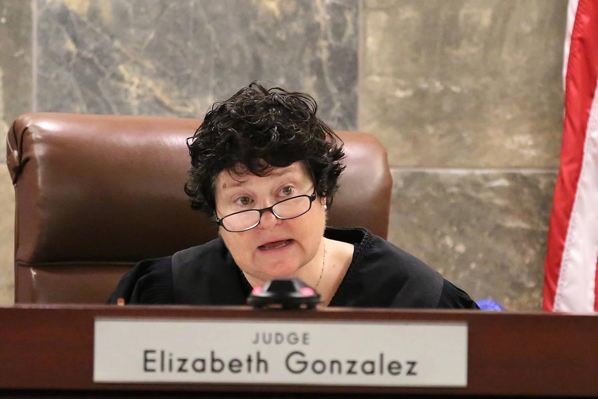 District Judge Elizabeth Gonzalez announces a decision at the Regional Justice Center during a ...
