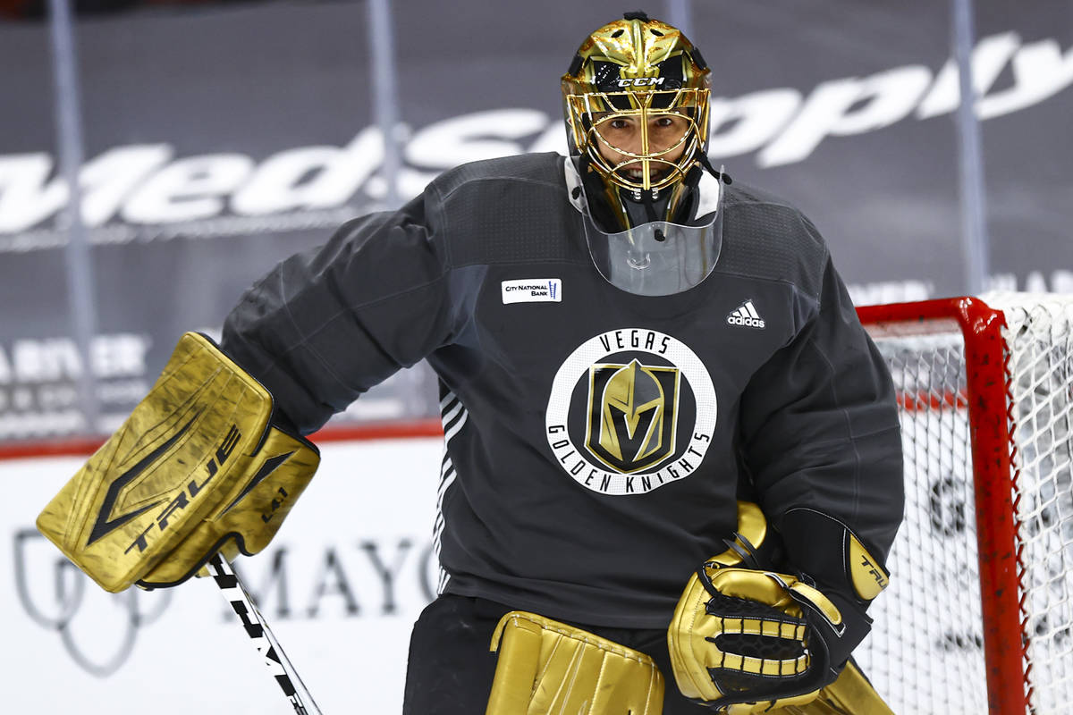 Golden Knights goaltender Marc-Andre Fleury participates in an optional morning skate at Gila R ...