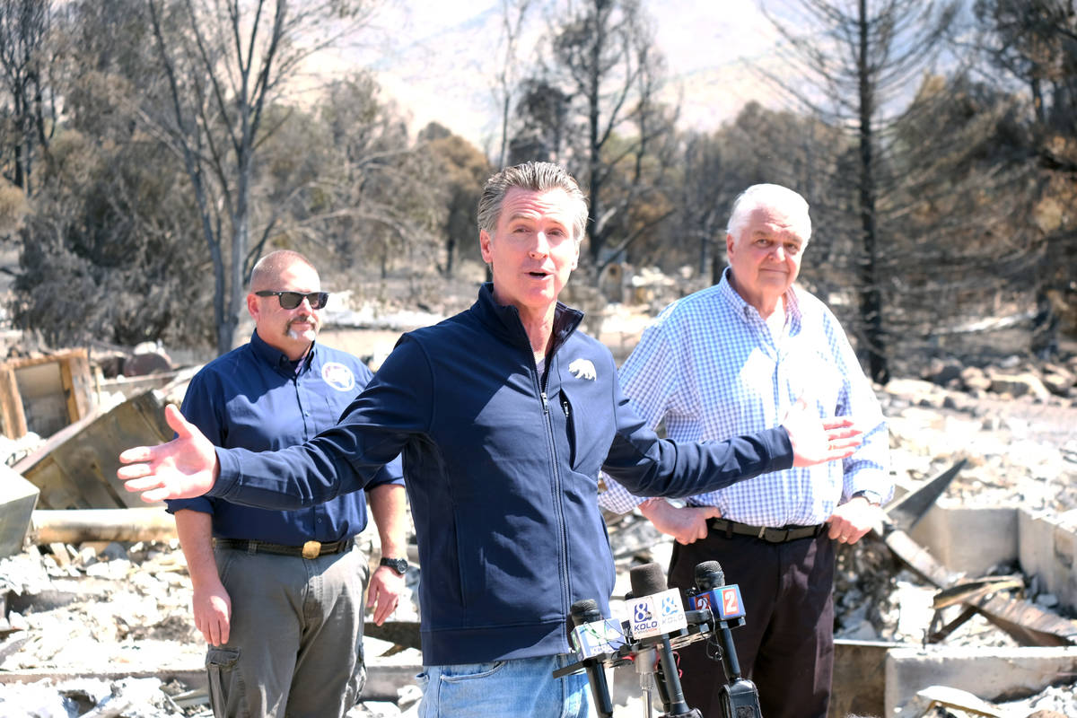 Calif. Gov. Gavin Newsom speaking to reporters Wednesday about the Tamarack fire. July 28, 2021 ...