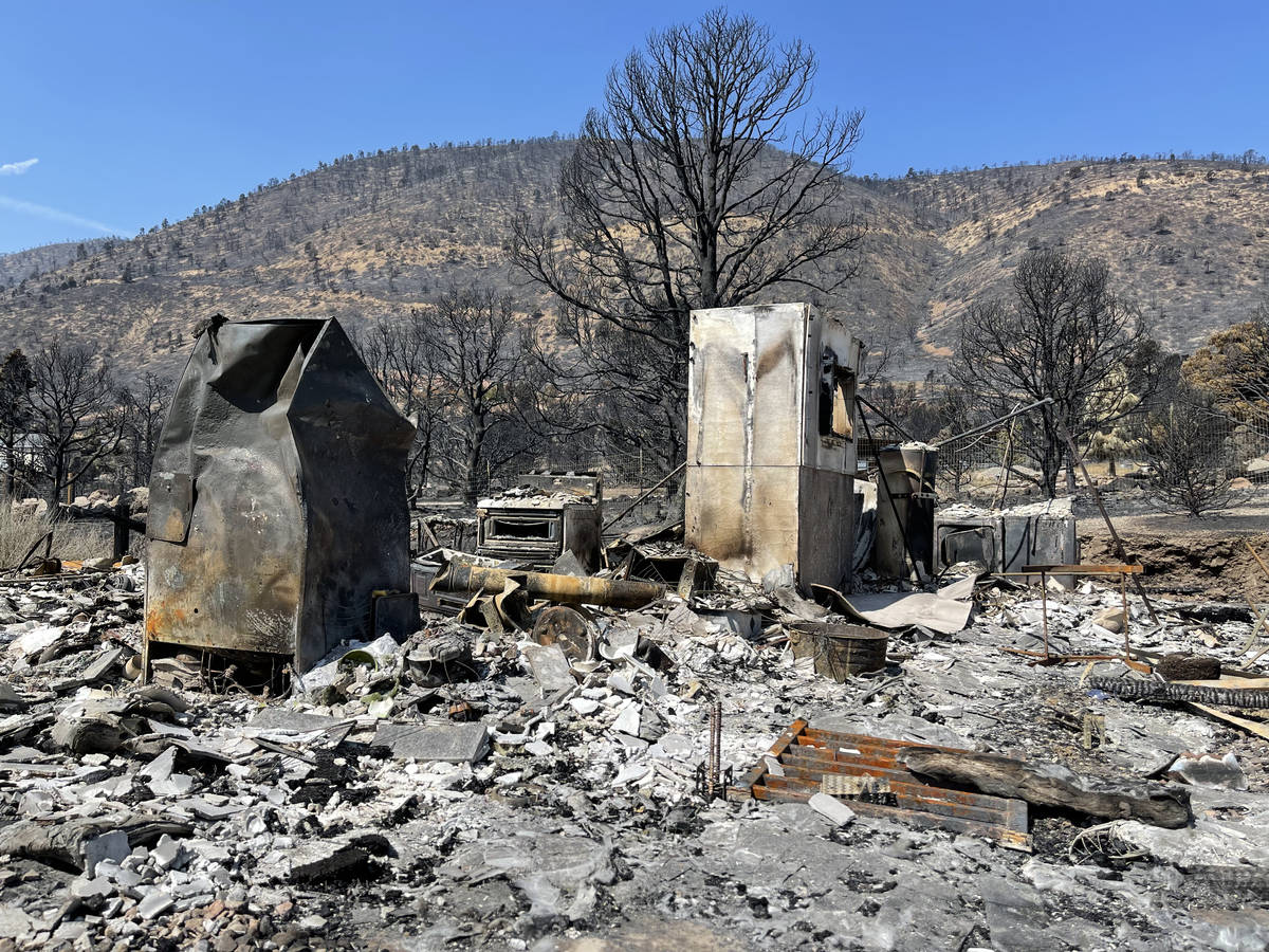 The remains of a modular home in Gardnerville, NV destroyed in the Tamarack Fire. July 28, 2021 ...