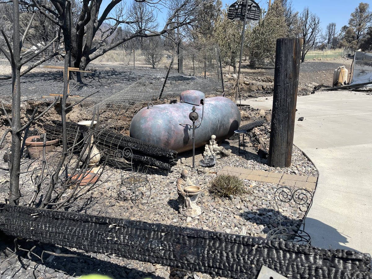 Remains of destroyed home consumed by the Tamarack Fire in Gardnerville, NV. July 28, 2021. (Bi ...
