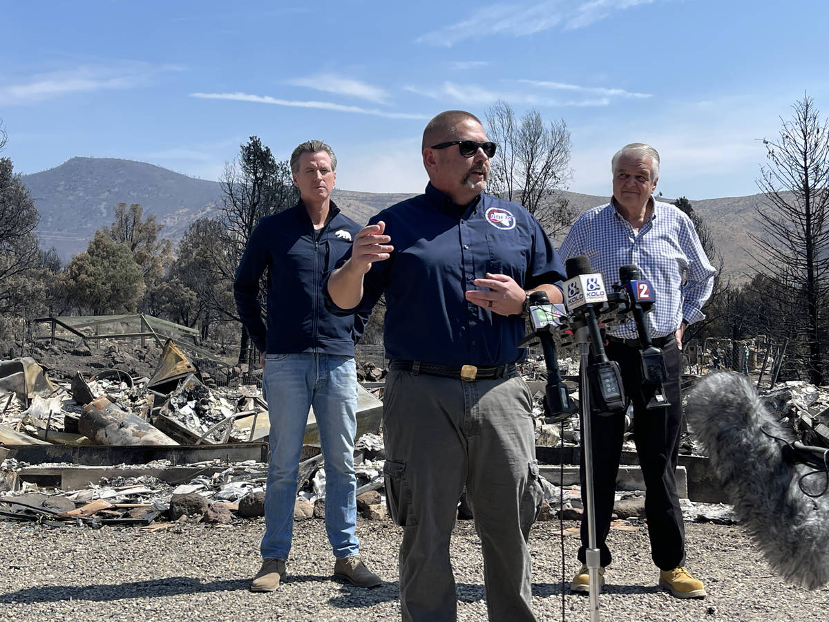 Nevada Homeland Security Chief Dave Fogerson speaks to reporters on efforts to contain the Tama ...