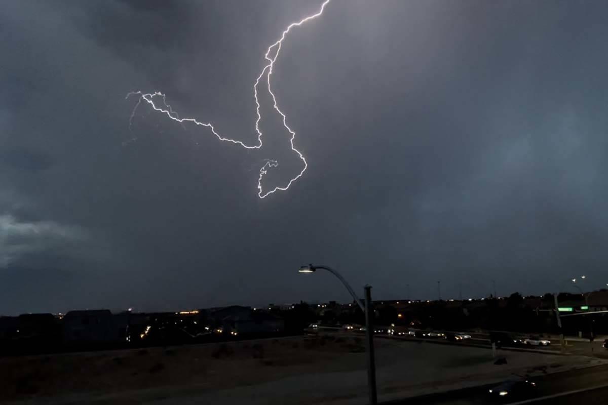 Lightning over Henderson near St. Rose Parkway, Thursday, July 30, 2021. (Jennifer Le)
