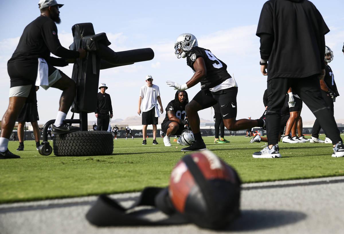 Raiders defensive end Clelin Ferrell (99) runs through drills during training camp at Raiders H ...