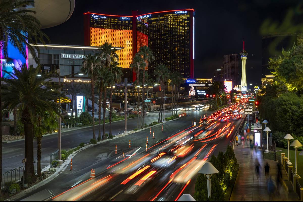 Traffic backs up during the Resorts World Las Vegas grand opening along the Strip in Las Vegas ...