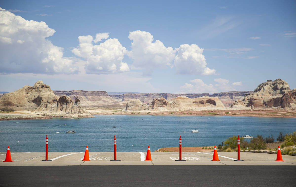 The blocked-off entrance to the Stateline boat launch ramp is seen at Lake Powell in the Glen C ...