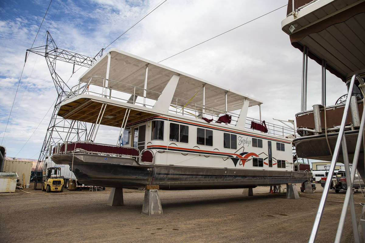 Dry-docked houseboats, which can no longer be launched at the last remaining launch ramp at the ...