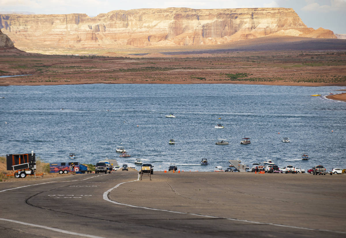 A view of the Wahweap main launch ramp at Lake Powell in the Glen Canyon National Recreation Ar ...