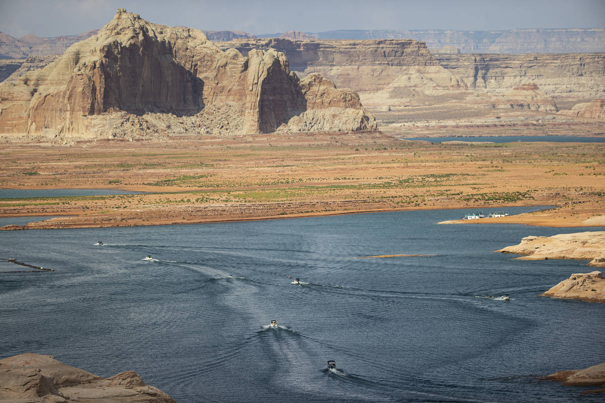 Boats and other watercraft are pictured near the Wahweap Marina at Lake Powell in the Glen Cany ...
