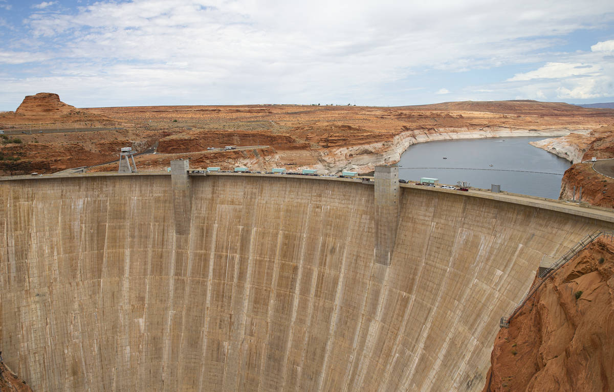 A view of Glen Canyon Dam and Lake Powell at the Glen Canyon National Recreation Area on Wednes ...
