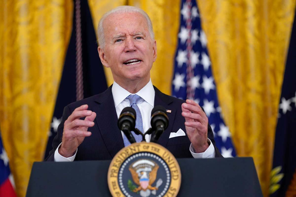 President Joe Biden speaks about COVID-19 vaccine requirements for federal workers in the East ...