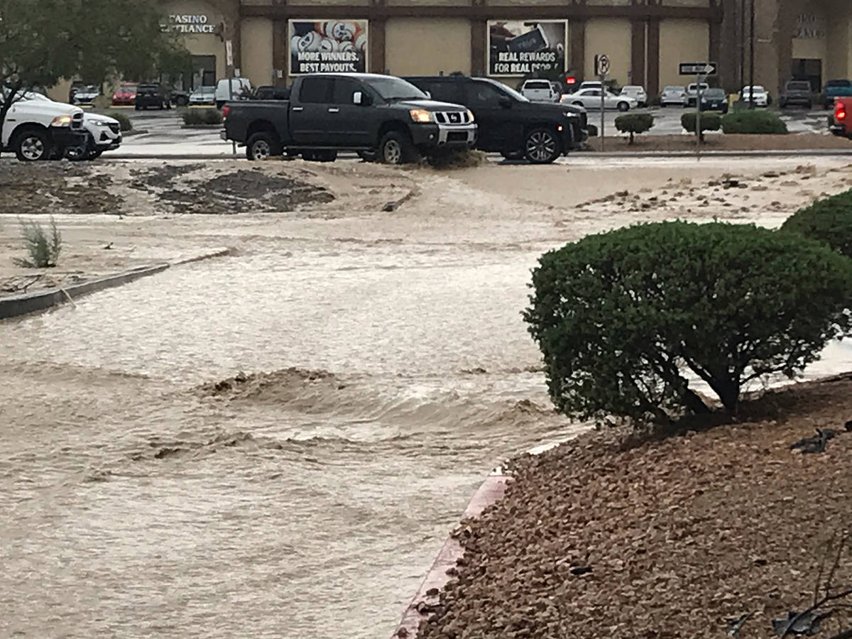 Special to the Pahrump Valley Times This photo shows flooding near the Bank of America parking ...