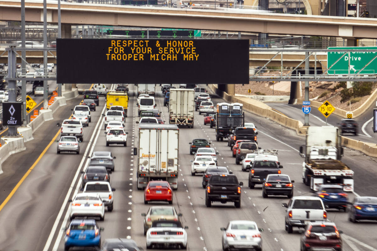 Signage on Interstate 15 northbound for Nevada Highway Patrol Trooper Micah May is seen on Frid ...