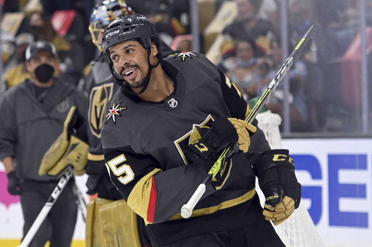 Vegas Golden Knights right wing Ryan Reaves (75) skates aMinnesota Wild during the second perio ...