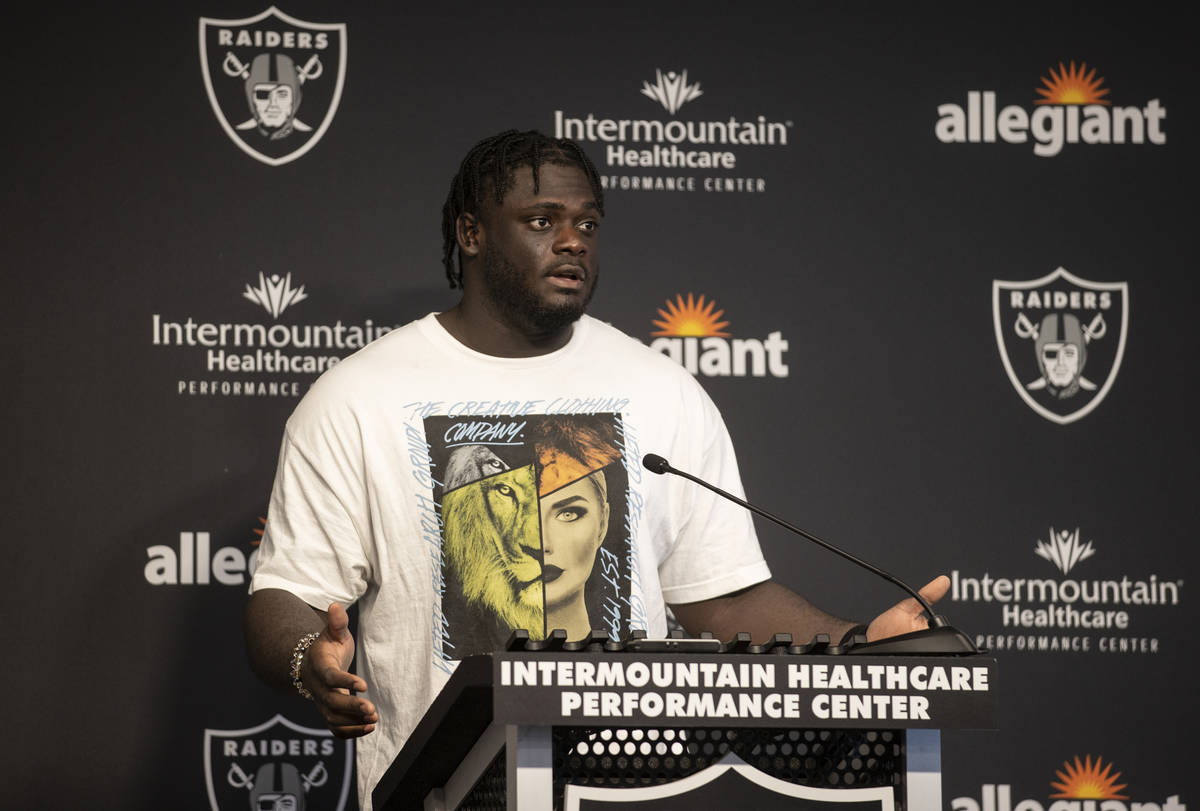 Raiders offensive tackle Alex Leatherwood addresses the media at the conclusion of training cam ...