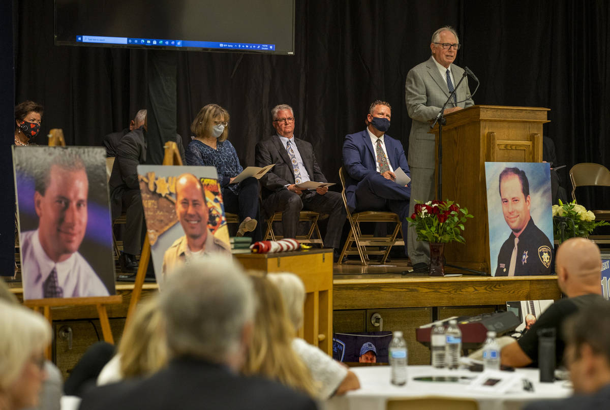 Mark Lloyd offers memories of his son and words of wisdom during a public memorial service for ...