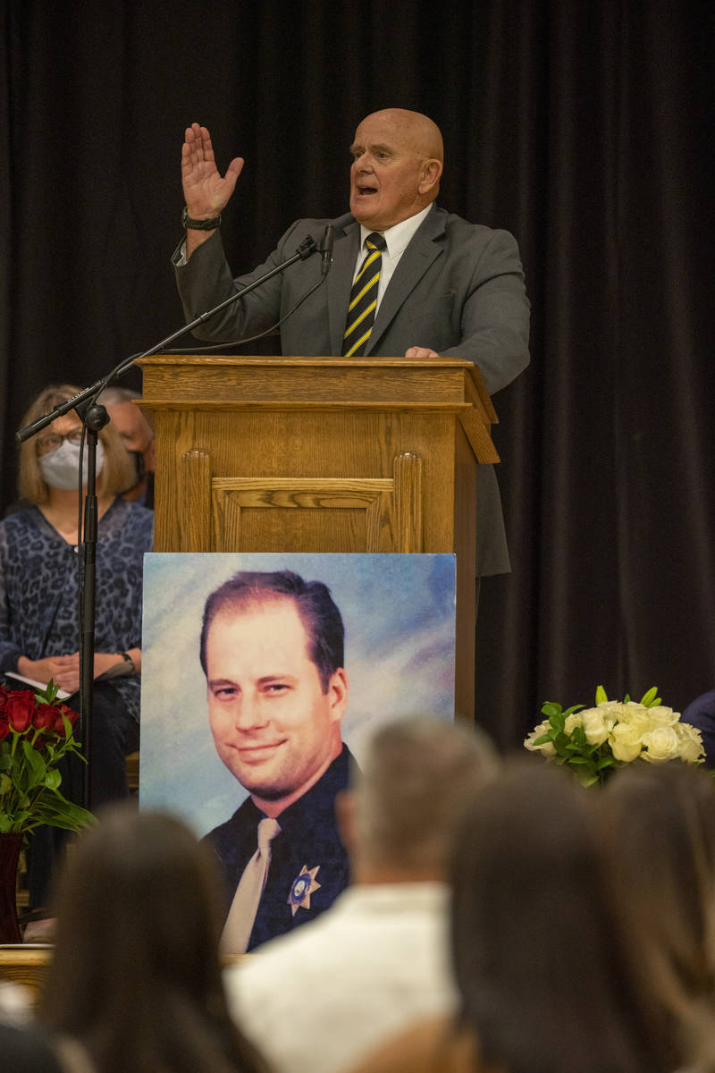 Bishop Chris Luther speaks during a public memorial service for his step-son former Metro Lt. E ...