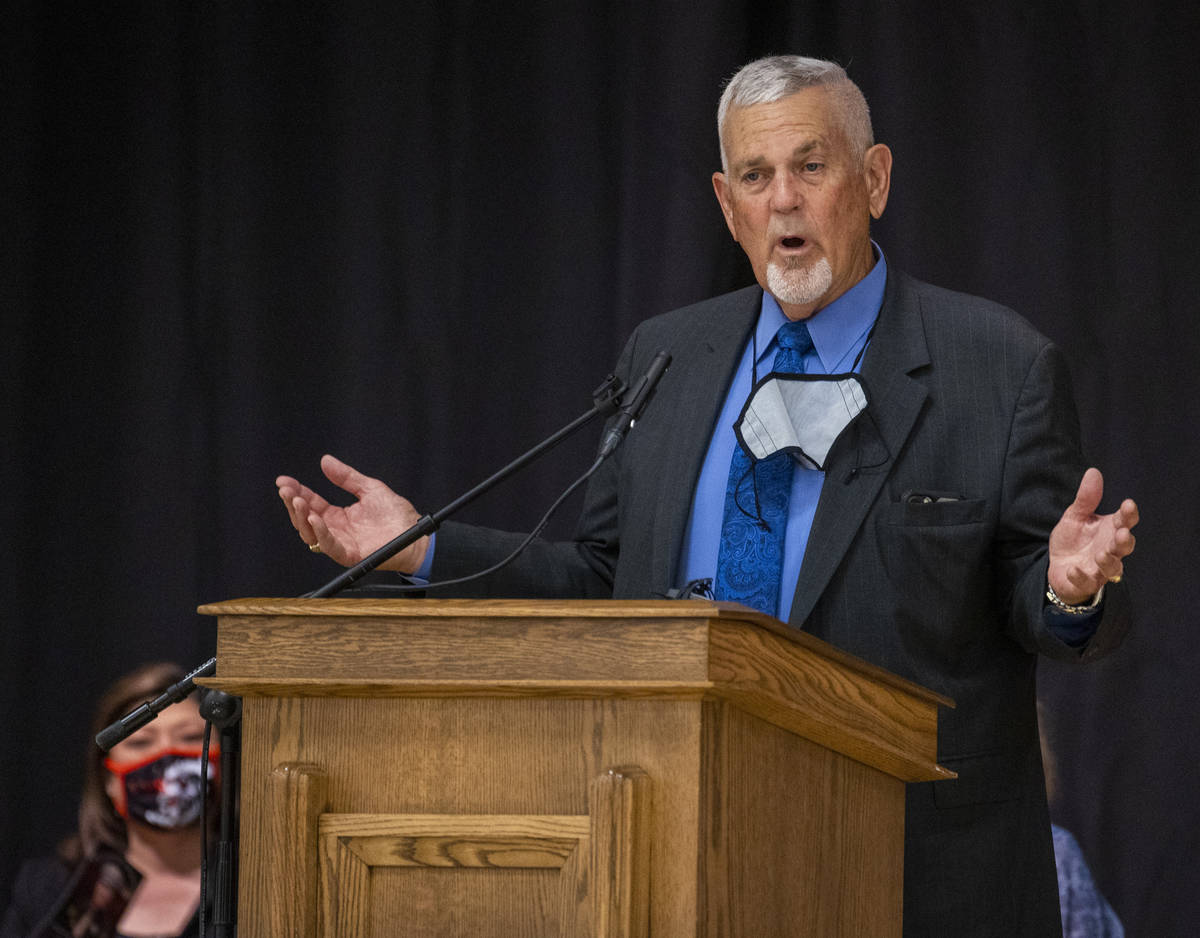Henderson Justice of the Peace David Gibson Sr. speaks during a public memorial service for for ...