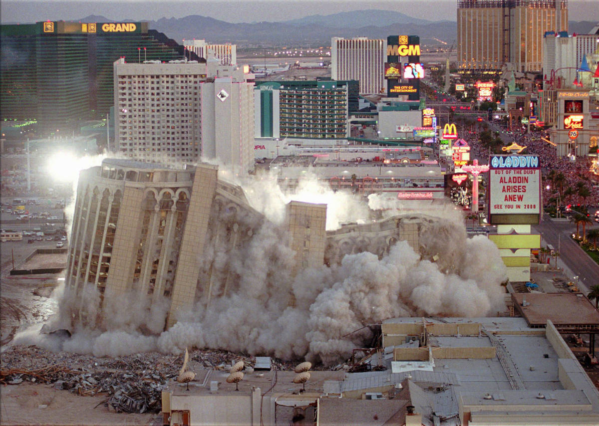 The Aladdin Hotel & Casino comes tumbling down as it is imploded, Monday night, April 27, 1 ...