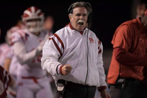 Mater Dei Monarchs coach Bruce Rollinson reacts during the CIF Southern Section Division 1 cham ...