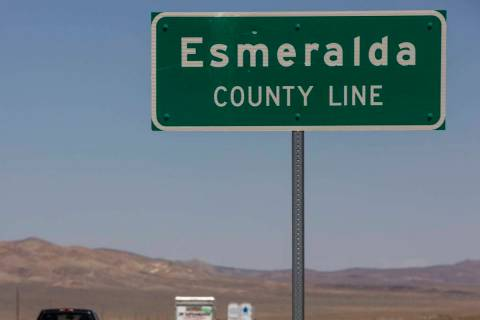 Vehicles make their way north on I-95 across the Esmeralda County line on Tuesday, August 11, 2 ...