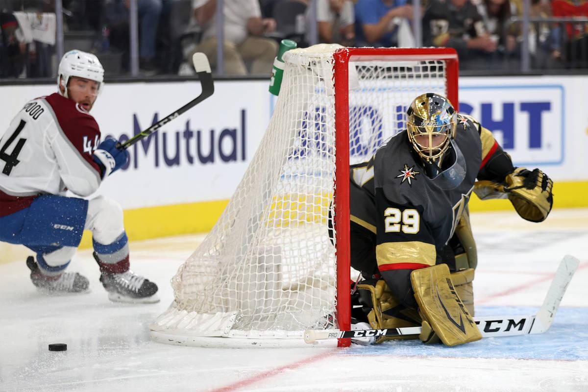 Vegas Golden Knights goaltender Marc-Andre Fleury (29) defends the goal against Colorado Avalan ...