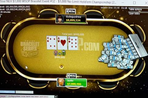 Drew O'Connell (dudeguydrew) and Jason Rivkin (JayRiv) play heads-up in the World Series of Pok ...