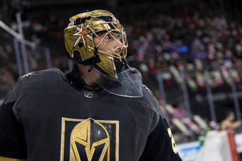 Golden Knights goaltender Marc-Andre Fleury (29) skates around the goal during the second perio ...