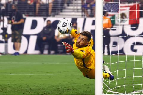 United States goalkeeper Matt Turner (1) makes a save against Mexico during the first half of t ...