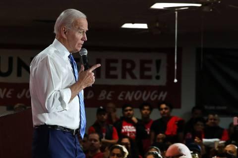 Joe Biden speaks during a town hall event. (Bizuayehu Tesfaye/Las Vegas Review-Journal) @bizute ...