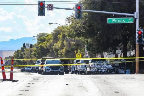 The scene of a fatal car accident near Pecos Road and Hacienda Avenue in Las Vegas, Sunday, Aug ...