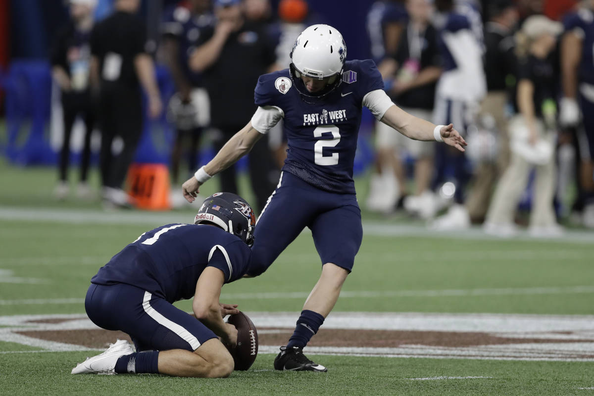 West kicker Dominik Eberle, of Utah State, (2) during the first half of the East West Shrine fo ...
