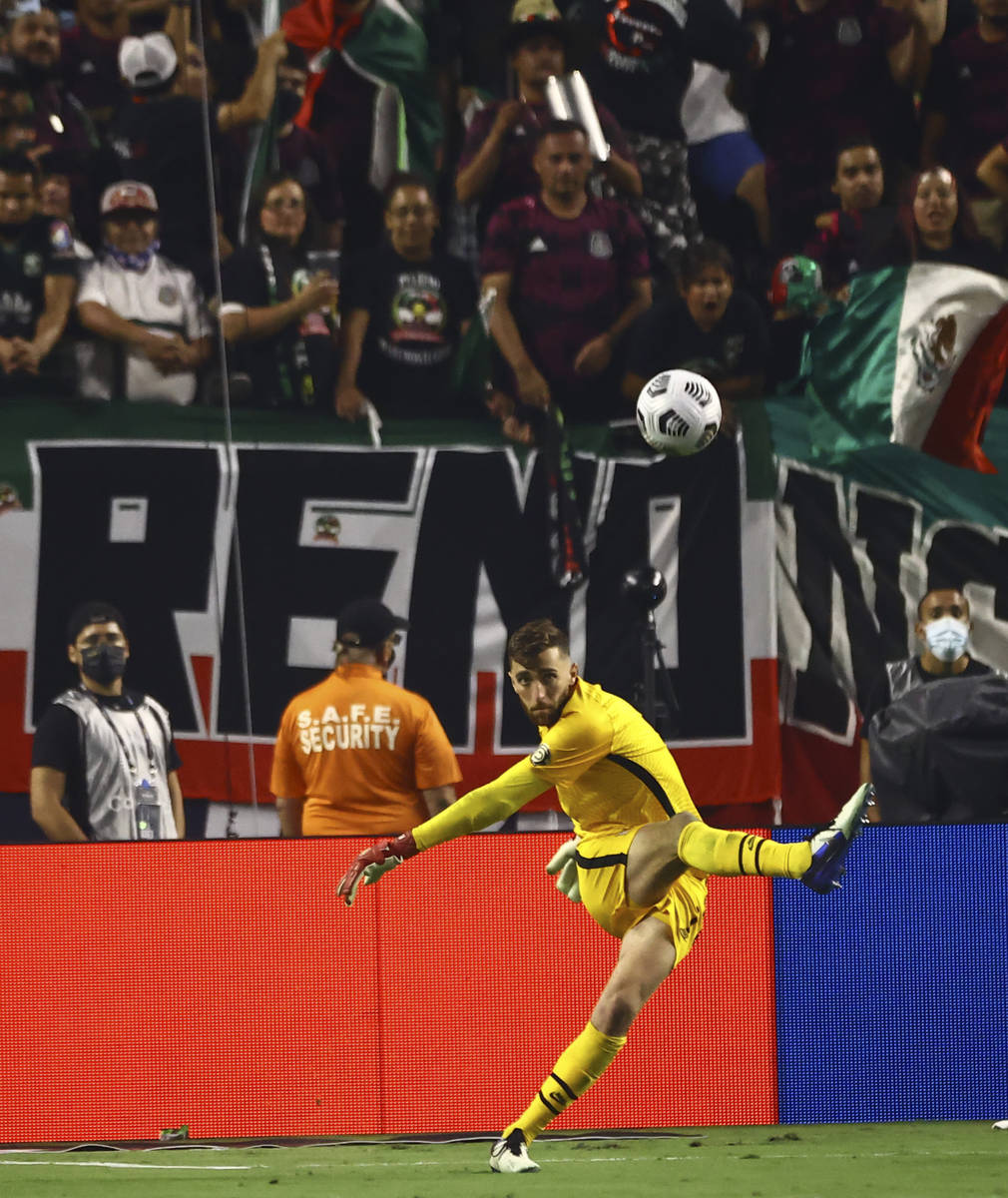 United States goalkeeper Matt Turner kicks the ball during the second half of the Concacaf Gold ...