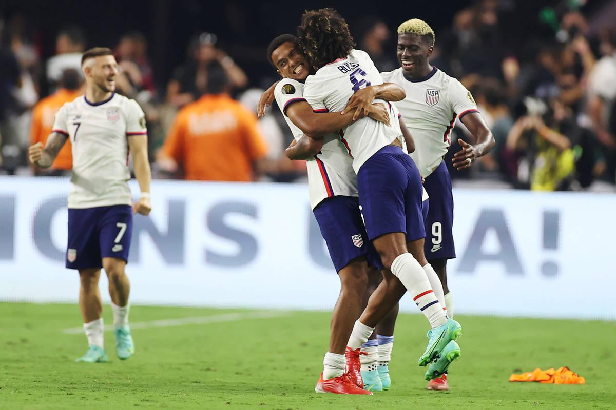 United States defender Reggie Cannon (2), midfielder Gianluca Busio (6), and forward Gyadi Zard ...