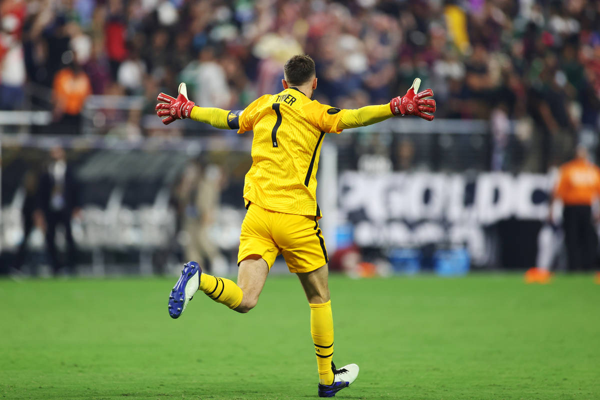 during the second extra time period of the Concacaf Gold Cup final at Allegiant Stadium in Las ...