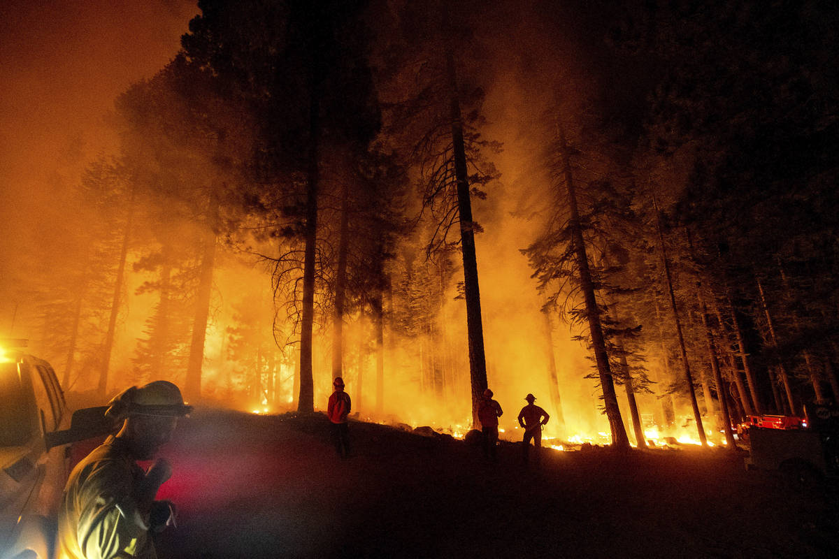 Firefighters monitor a firing operation, where crews set ground fire to stop a wildfire from sp ...