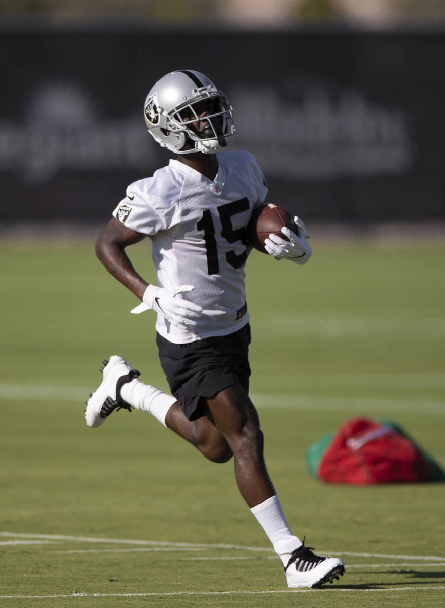 Raiders wide receiver John Brown (15) runs through drills during training camp on Monday, Aug. ...