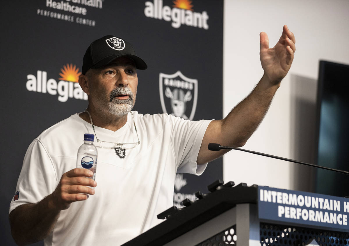Raider special teams coach Rich Bisaccia speaks to the media after training camp on Monday, Aug ...