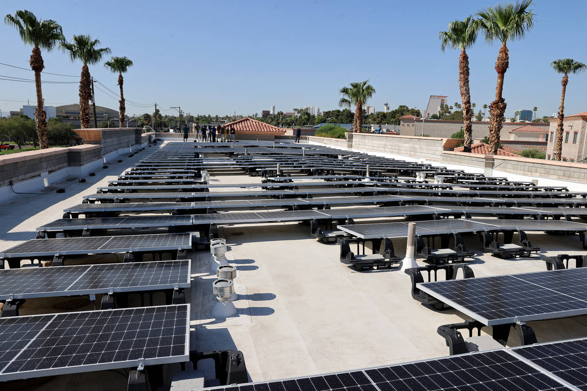 A rooftop solar facility at Catholic Charities of Southern Nevada on the social service organiz ...