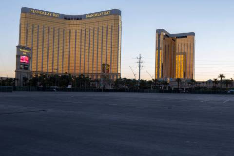 Mandalay Bay, left, and Delano Las Vegas are seen from the Las Vegas Village festival grounds, ...