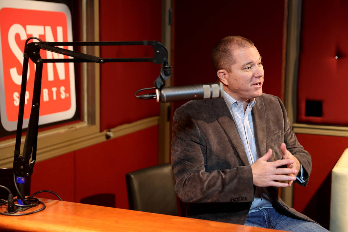 Red Rock Resort sportsbook director Jason McCormick tapes a new sports betting podcast with Sun ...