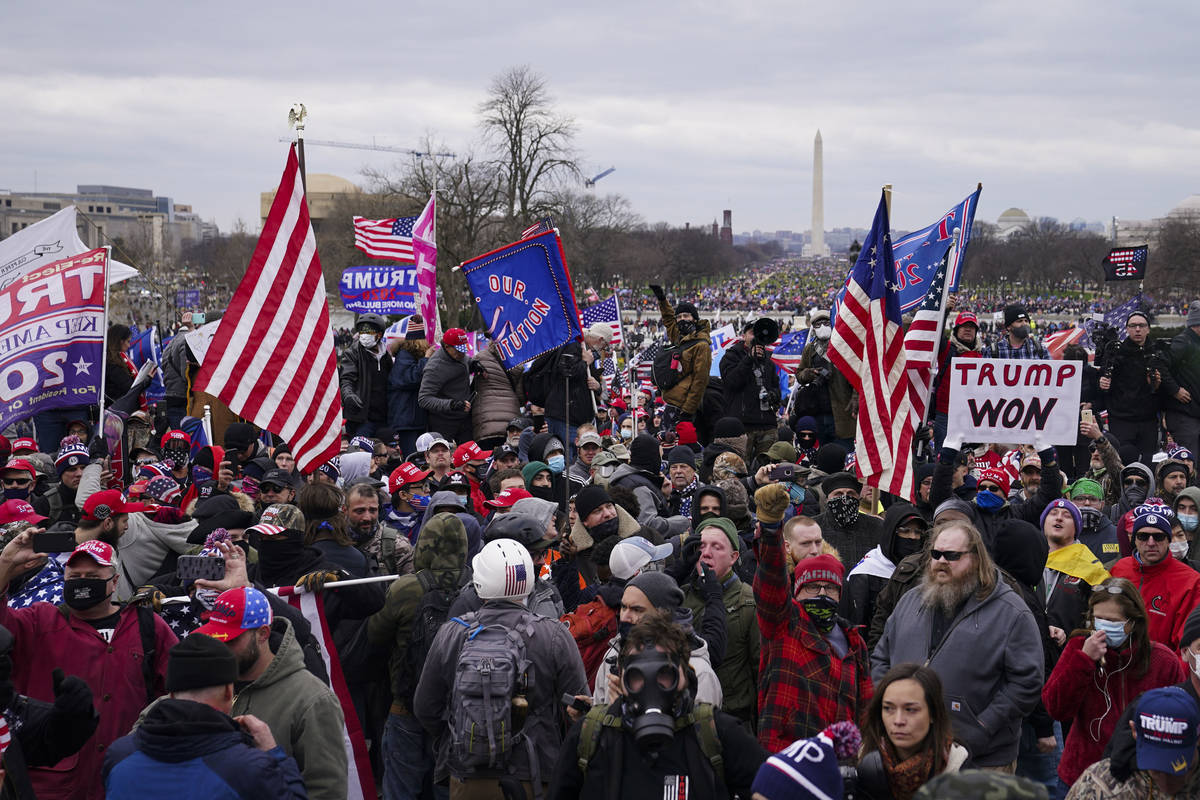 Trump supporters stitchery  extracurricular  the Capitol, Wednesday, Jan. 6, 2021, successful  Washington. As Congres ...