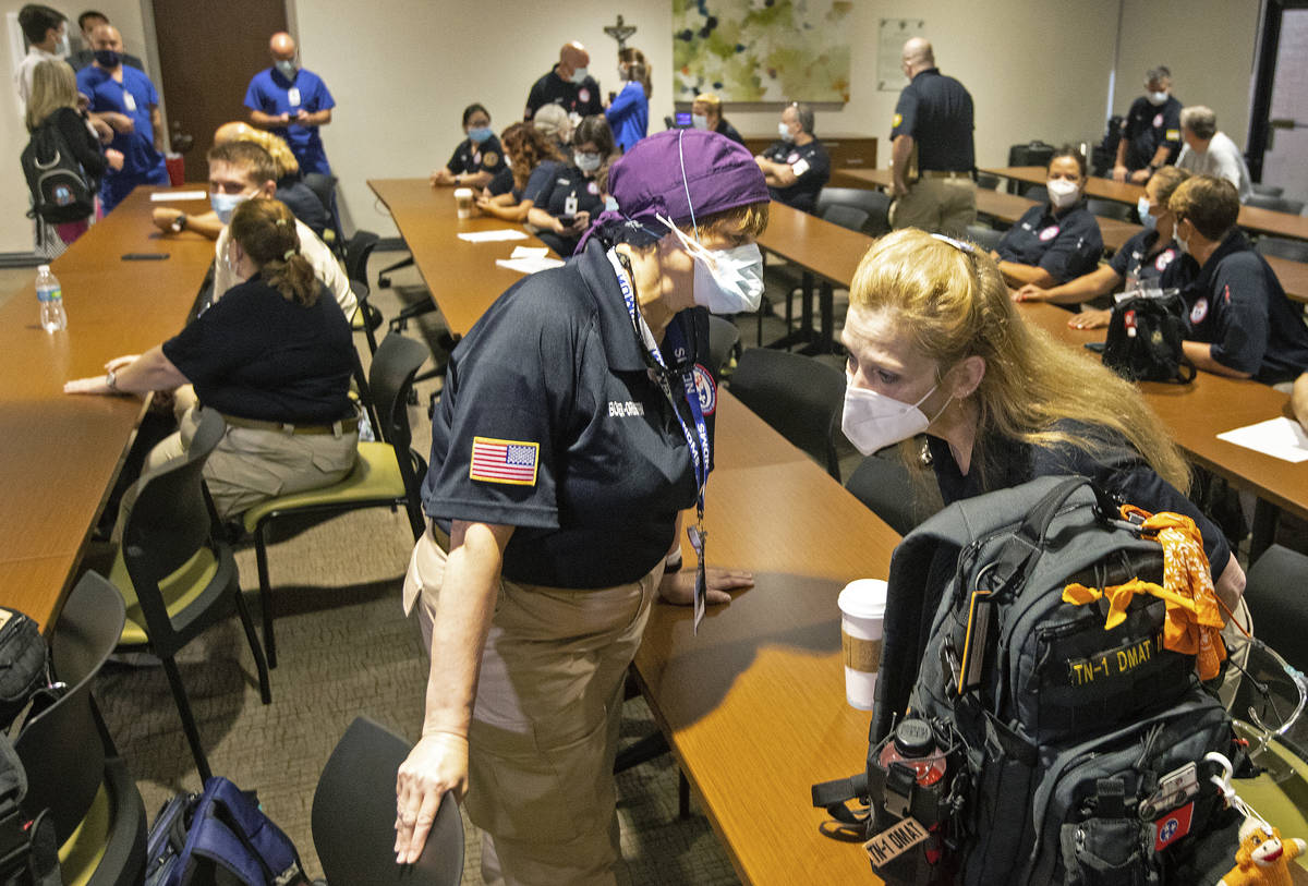 Hindy Bogner Orenstein, a nurse from Maryland chats with Bren Ingle, a nurse from Chattanooga, ...