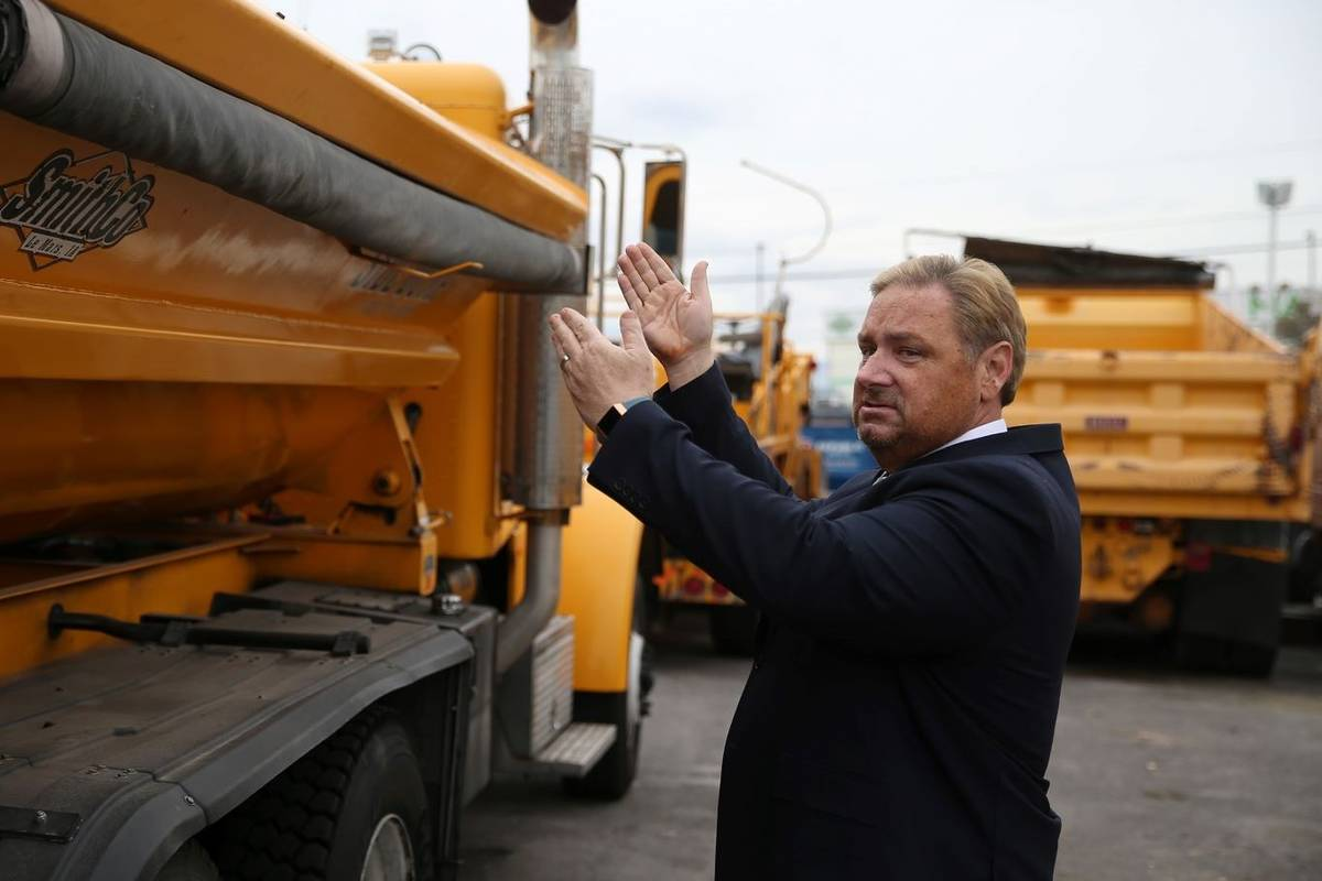 Tony Illia of NDOT talks about their multi-purpose trucks at NDOT, 123 E. Washington Avenue, in ...