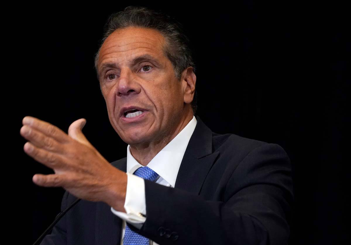 New York Gov. Andrew Cuomo speaks during a news conference at New York's Yankee Stadium, Monday ...