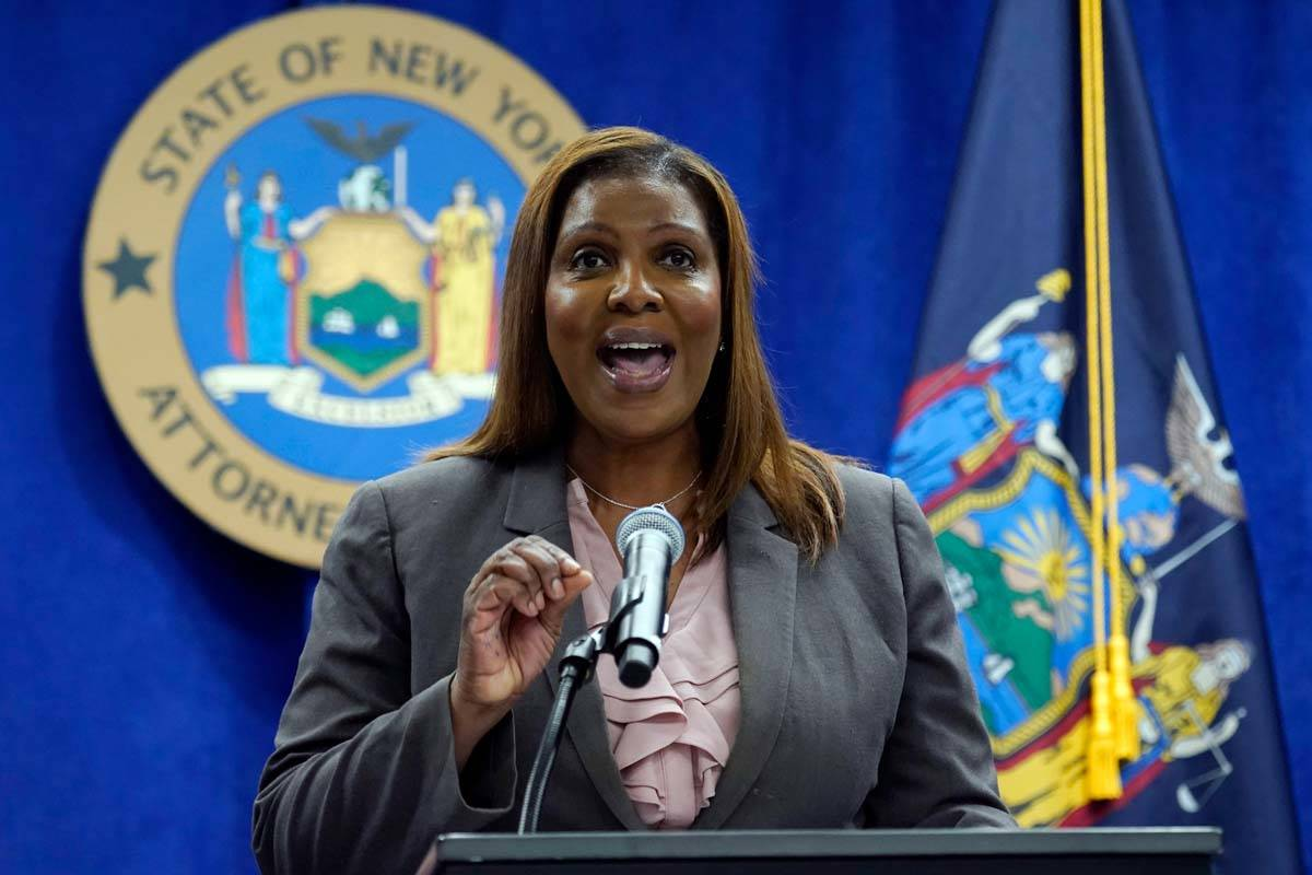 New York Attorney General Letitia James addresses a news conference at her office, in New York, ...