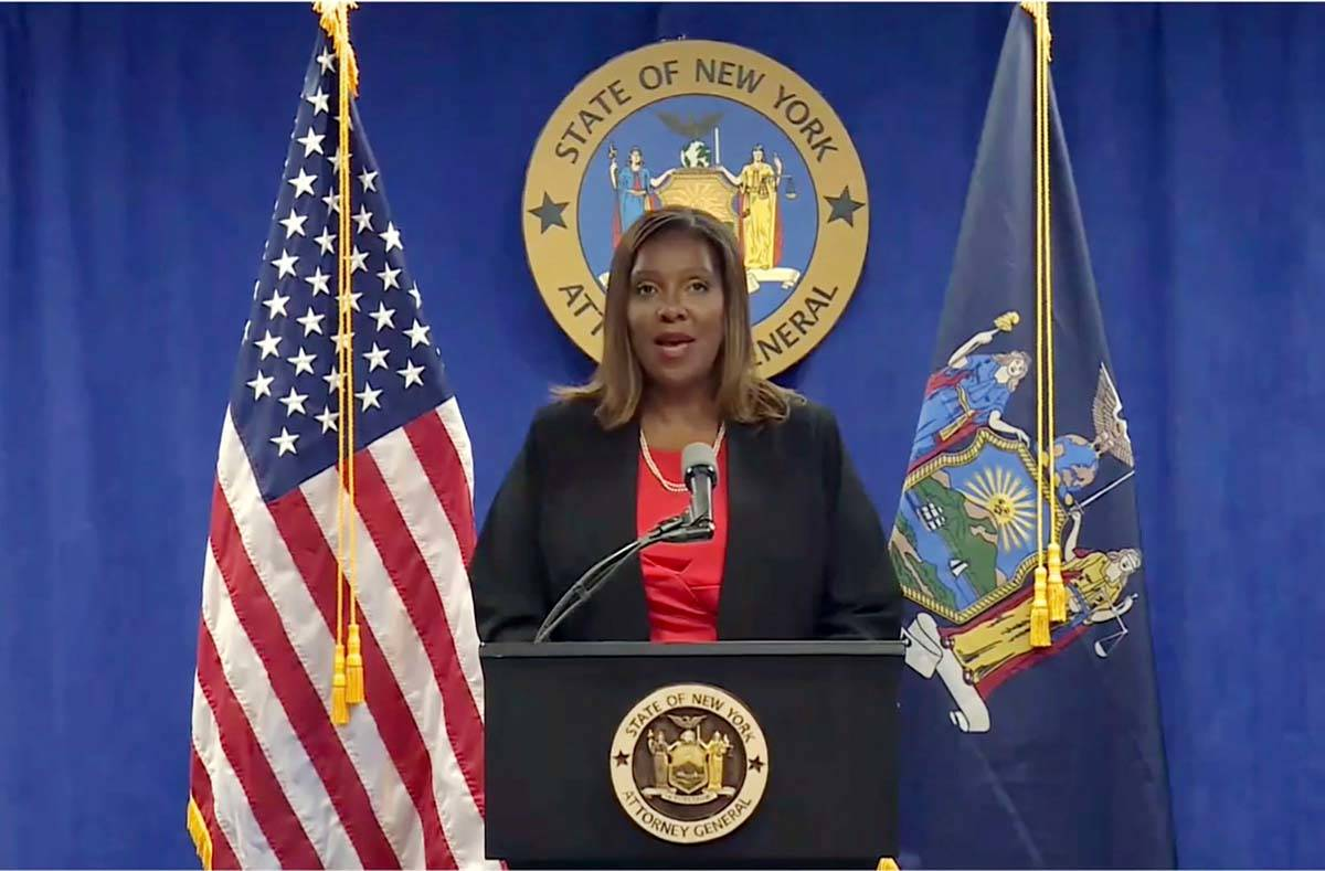 In this still image from video, New York State Attorney General Letitia James addresses a news ...