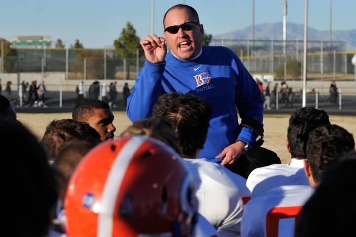 DAVID BECKER/LAS VEGAS REVIEW-JOURNAL Bishop Gorman's head coach Tony Sanchez gives a post gam ...