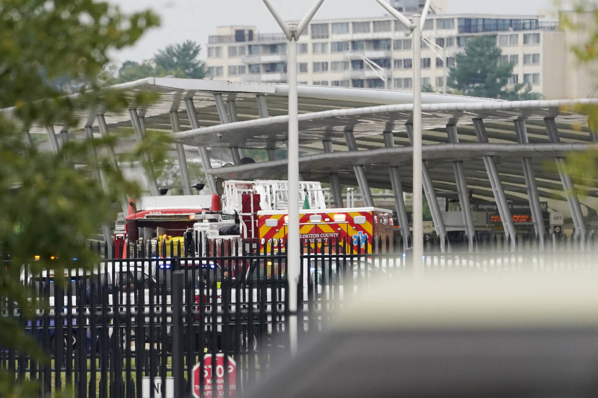 Emergency vehicles are seen outside the Pentagon Metro area Tuesday, Aug. 3, 2021, at the Penta ...